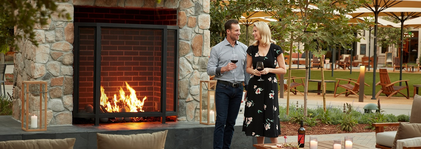 Couple by Fireplace at Vista Collina Resort