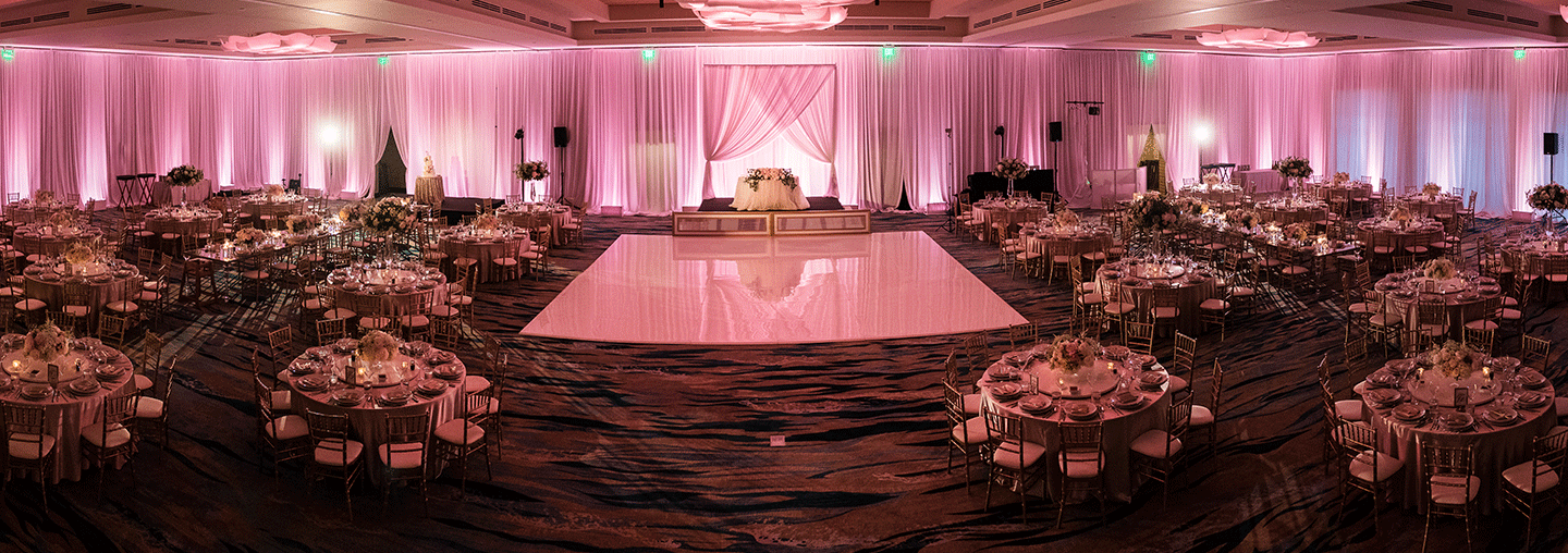 Hotel Wedding Venue With Pink Lighting
