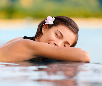 Girl relaxing in spa
